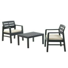 3 Piece Garden Table & Chairs Patio Furniture Sets with Cushions Outdoor Seating