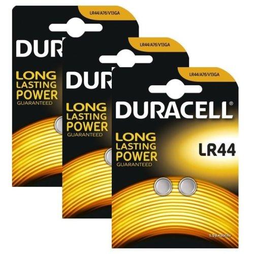 6 x Duracell LR44 1.5V Alkaline Button cell Batteries LR44 A76 AG13 357 SR44