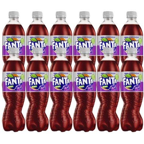 Pack Of 12 Fanta Grape Zero Added Sugar 500ml Bottles