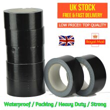 BLACK Gaffer Cloth Duck Duct Tape 48mm x 50m WEATHERPROOF PACKAGING BIG ROLL STRONG ADHESIVE WATER RESISTANT