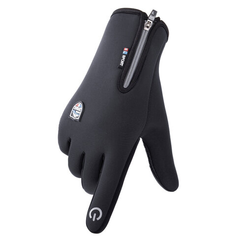 (XL, Black) Men Gloves Winter Riding Waterproof