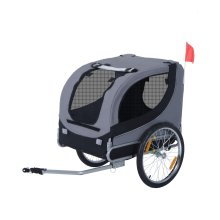 PawHut Pet Bicycle Trailer Steel Dog Bike Carrier Water Resistant Travel Grey