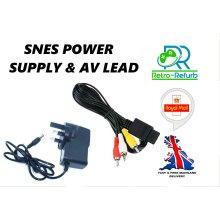 Super Nintendo SNES Power Supply UK Plug + AV Lead Bundle TV Cable & AC Adpater
