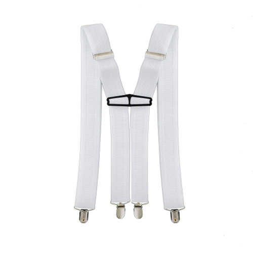 35mm Mens Braces Suspenders Elastic Wide in White Clip on Trousers Jeans