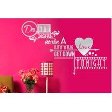 Do A Little Dance Make A Little Love Wall Stickers Art Decals - Medium (Height 57m x Width 33cm) Shiny Sliver