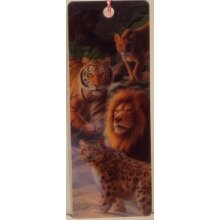 Big Cats Expedition 3D bookmark 15cm x 5.75cm with tassel