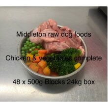 Dog Food Frozen Chicken & veg complete meal 48x500g bags 24kg box