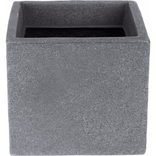 Koop Cube Planter 20cm Grey Stone Effect Plant Pot