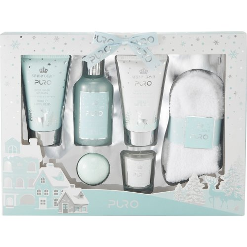 Style & Grace Puro Pamper Blockbuster Set - 150ml Body Wash, 150ml Body Lotion, 240ml Bubble Bath, 50g Bath Fizzer, 60g Candle and Pair of Socks