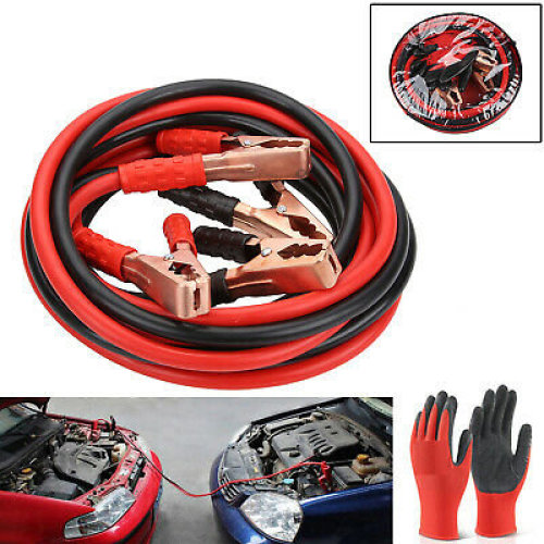 HEAVY DUTY 1000AMP CAR VAN JUMP LEADS 4 METRE BOOSTER CABLE & GLOVES