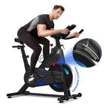Dripex Magnetic Resistance Indoor Exercise Bike (2021 Upgraded New Version), Super-Silent, Capacity 300 LBS, LCD Monitor, Pulse Sensor, Bottle Holder