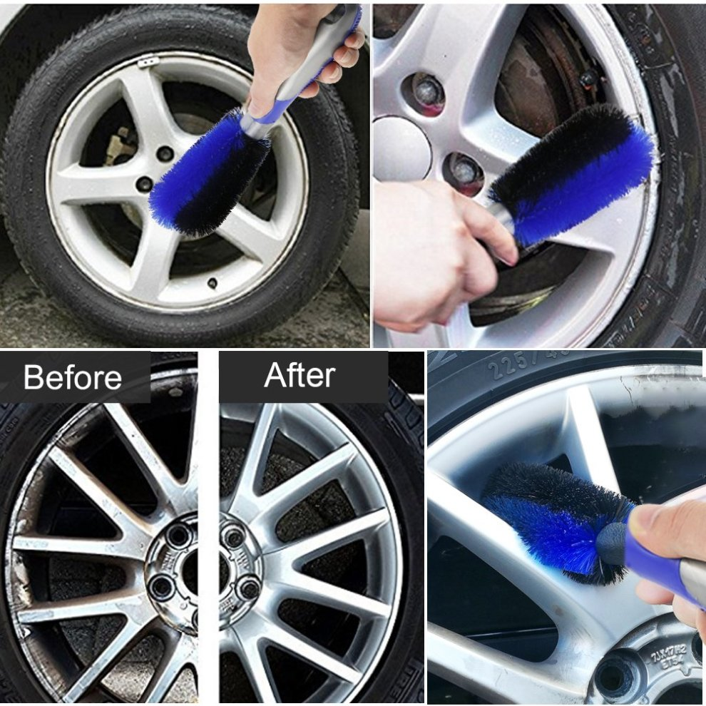 Fixget Car Wheel Cleaning Brush Kit Use for Auto Motorcycle Bike Wheel Cleaning Rim Cleaning Brush Soft Cleaning Cloth Wheel Cleaning Brush