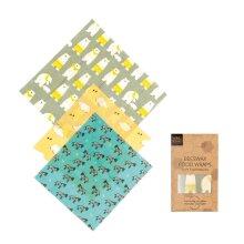 Beeswax Food Wraps - Animal Pattern - 3 Pack (2x Medium, 1x Large)