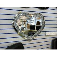 Silver Wall Mirror Gatsby Crushed Diamond Crystal Glass Frame Heart