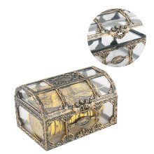 Pirate Treasure chest Plastic Container gold Box Kids Toys For Children Pirate Crystal Gem Toy Figures
