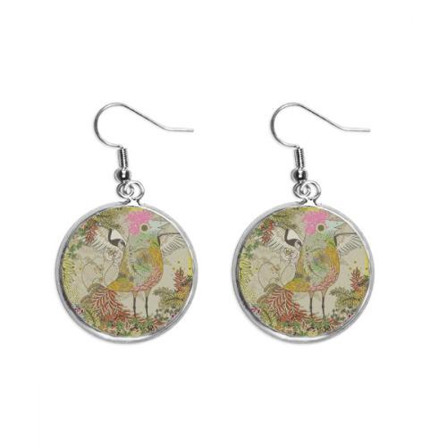 Flower Bird Wing Ukiyo-e Japan Ear Dangle Silver Drop Earring Jewelry Woman