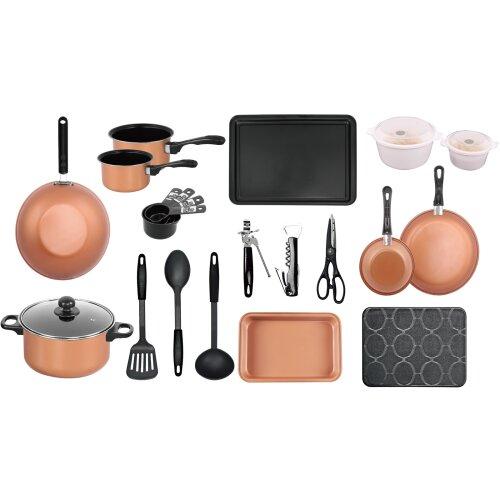 Copper 21 Pcs Kitchen Cookware Saucepan Utensil Pot Pan Bakeware Starter Set