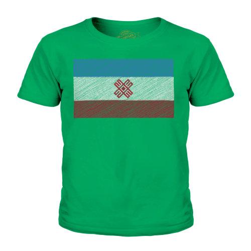 (Irish Green, 9-10 Years) Candymix - Mari El Scribble Flag - Unisex Kid's T-Shirt