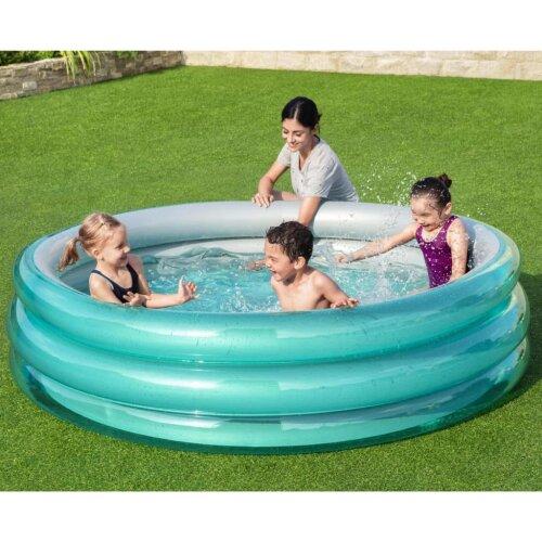 Bestway Swimming Pool Big Metallic Round Blue Garden above Ground Family Pond