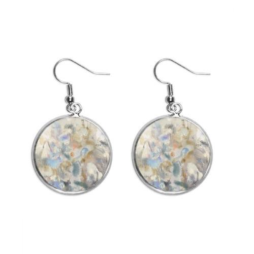 May Lotus XJJ Oil Painting Ear Dangle Silver Drop Earring Jewelry Woman