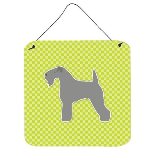 Kerry Blue Terrier Checkerboard Green Wall or Door Hanging Prints