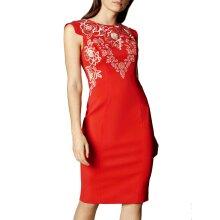 EX KAREN MILLEN RED Cap Sleeve Embroidered Shift Dress