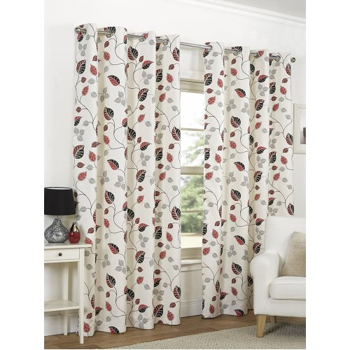 """(46"""" x 54"""" (117cm x 137cm)) April Cranberry Floral Flower Leaf Ready Made Lined Eyelet Curtains Set Ring Top"""