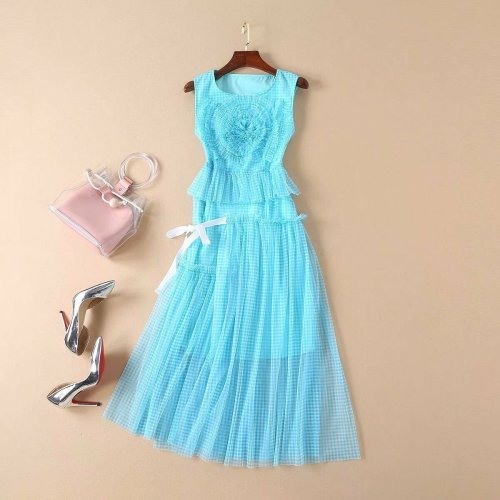 Luxury Women Sleeveless Luxury Puff Summer Designer Party Dress