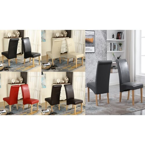 WestWood Premium Dining Chairs - Faux Leather Roll Top Dinner Wooden Chair Set