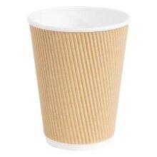 Fiesta Disposable Coffee Cups Ripple Wall Kraft 340ml / 12oz (Pack of 25) - [GP445]