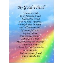 "Good Friend Poem Verse Greeting Card 8""x5.5"""
