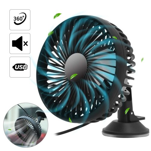 Portable USB Fan Suction Cup Variable Speed Cooling Air Cooler Car Home Office