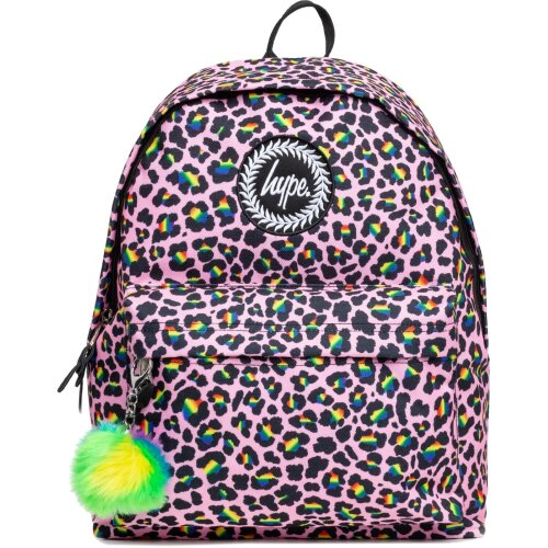 Hype Rainbow Leopard Pom Pom Backpack Bag Pink