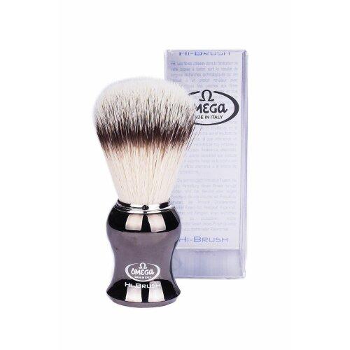 Omega HI-BRUSH SERIES Synthetic Shaving Brush (liquid metal)