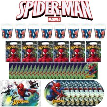 43 Piece ! Marvel Spiderman Party Tableware Set Cups Plates Napkins Bags Cover