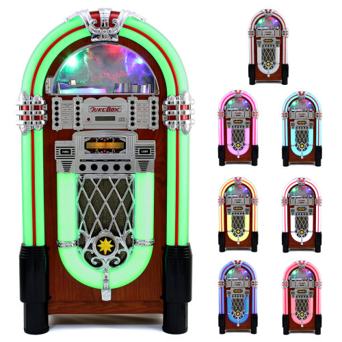 iTek Floorstanding Multi-Functional Bluetooth Jukebox with CD Player Wood Finish Remote Control Included Colour Changing LED Lights 2 x 40 W Power Output AM//FM Radio