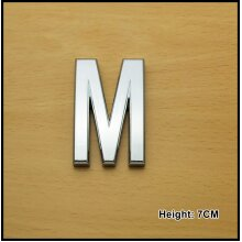 Self Adhesive 3D Chrome Letters Silver House Door Car 7cm CURVED - M