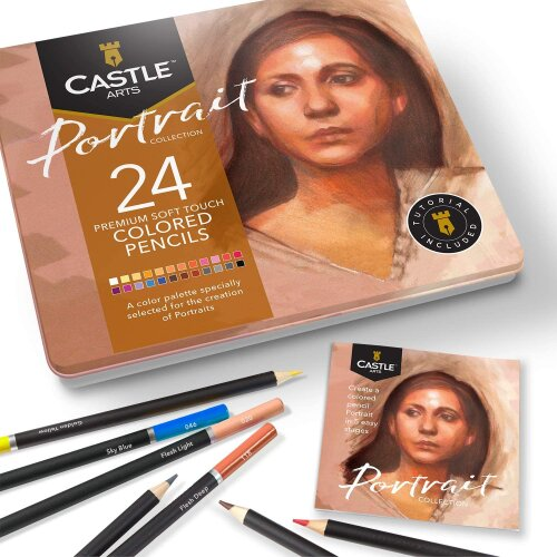 Castle Arts Portraits Themed 24 Piece Coloured Drawing Pencil Set in Tin Box