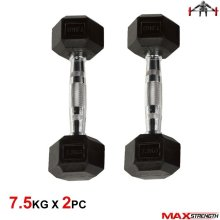 7.5kg Hex Dumbbells Rubber Weight Set Home Gym Fitness Training