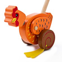 Bigjigs Toys Wooden Chicken Push Along - Walking Toys for Babies and Toddlers