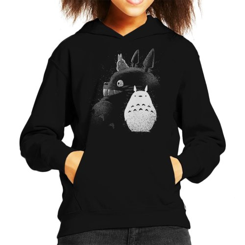 (X-Small (3-4 yrs), Black) Inking Totoro Profile My Neighbor Totoro Kid's Hooded Sweatshirt