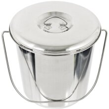 12L Metal Bucket with Lid Stainless Steel 12 Litre Large Heavy Duty Pail Handle