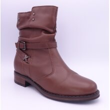 Tamaris Women's Brown Leather Flat Ankle Boots