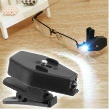 2X LED Glasses Spot Light Clip On Eyeglass Lamp Reading Night Light