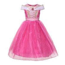 Little Girls Princess Aurora Costume Sleeveless Off Shoulder Sleeping Beauty Party Dress Up Children Birthday Clothes