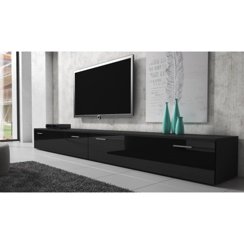 "(300 cm (2x 150 cm), Black) e-Com - TV Unit Cabinet Stand Sideboard ""BOSTON"""