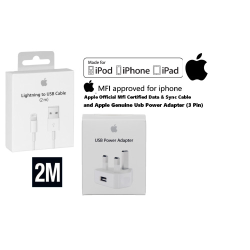 Apple Lightning Cable(2m) and USB Mains Wall Charger Plug