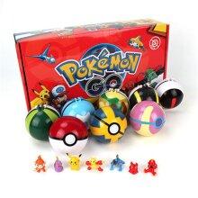 8pc/Set Cartoon Toy Figure Pokemon Pokeball Pop-up Ball Kids Xmas Gift