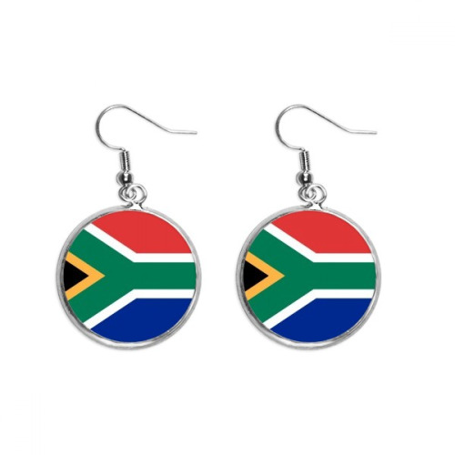 South Africa National Flag Africa Country Ear Dangle Silver Drop Earring Jewelry Woman