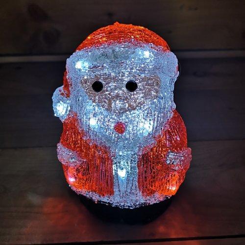 19cm Acrylic Sitting Christmas Santa With 16 Ice White LEDs